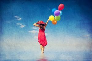 Brunette & Balloons canstockphoto